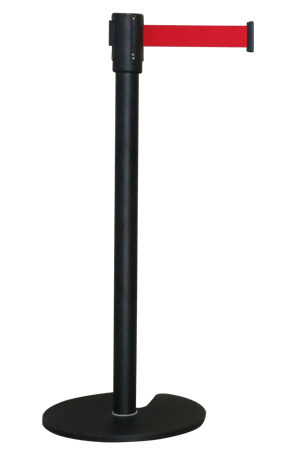 Black Queue Pole with Red Strap