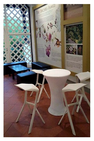 Bombo table with white spandex for Cocktail tables rental singapore