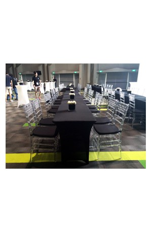 4ft long spandex table for Cocktail tables rental singapore