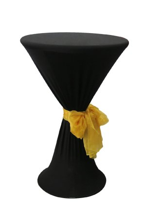 Bombo Table With Black Spandex & Gold Sash