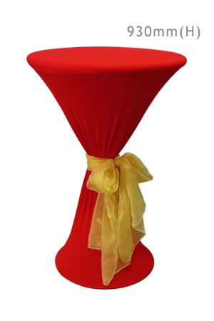 Bombo Table With Red Spandex & Gold Sash