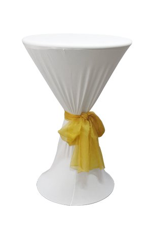 Bombo Table With White Spandex & Gold Sash