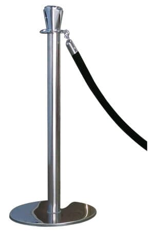 Classic Silver Pole With Black Rope